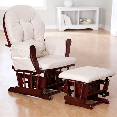 glider chair and ottoman for nursery storkcraft bowback glider and ottoman set cherry beige