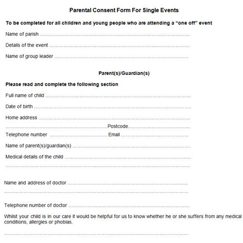 parent permission form template sle parental consent form free premium templates