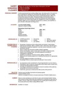 clean resume template word cleaner cv sle cleaning of working surfaces and other