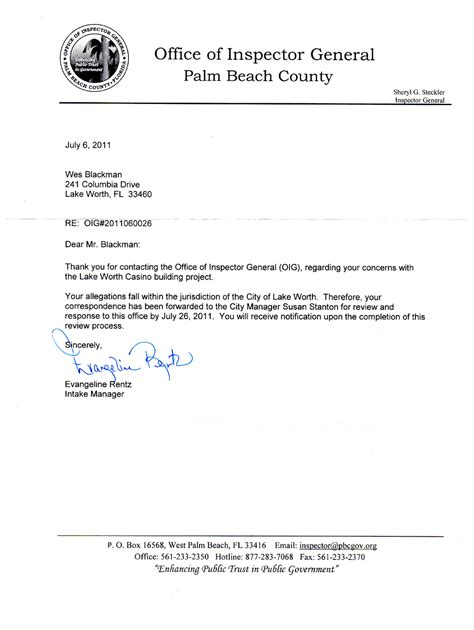 Acknowledgement Letter Complaint Received Wes Blackman S City Of Lake Worth Acknowledgement Letter From Inspector General