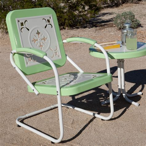 Retro Outdoor Chairs by Coral Coast Paradise Cove Retro Metal Arm Chair Outdoor