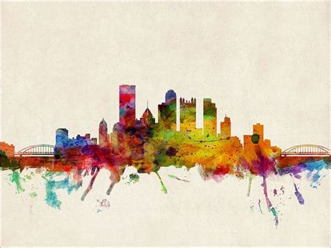 watercolor tattoos pittsburgh pittsburgh skyline pennsylvania print 545