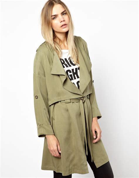 drape coat parka london parka london maya drape trench coat at asos