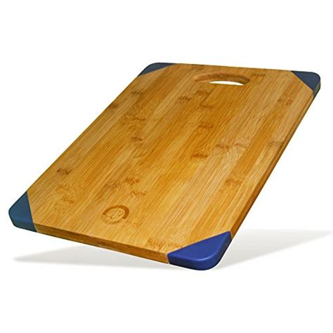 rubber st board bamboo wood cutting board with blue non slip silicone