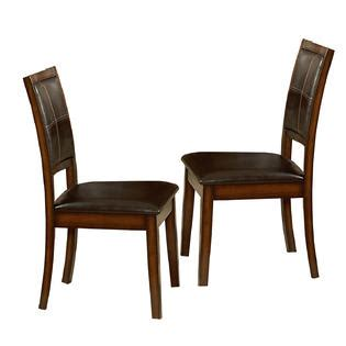 Bi Cast Leather Upholstery Oxford Creek Oak Dining Chairs Set Of 2 Multi Home