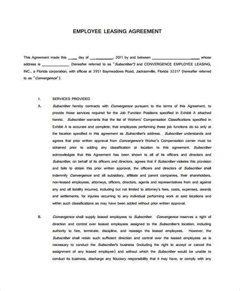 Employee Lease Agreement Template 24 Lease Agreements Sle Templates