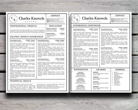 Resume 5 Pages by Charles Knowels Resume 5 Pack For Ms Word And Apple Pages