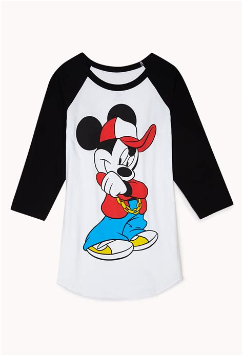 Raglan Mickey Mickey 03 forever 21 cool mickey mouse raglan top in white lyst