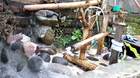 kincir air bambu hiasan taman  kolam ikan youtube