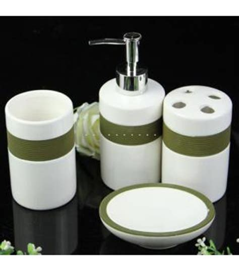 white and green bathroom accessory set