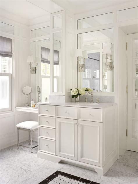 bright makeup vanities in bathroom traditional with