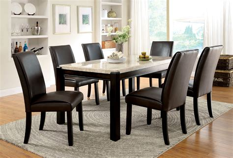 Furniture Of America Dark Walnut Lucius Marble Top Dining Marble Top Dining Table
