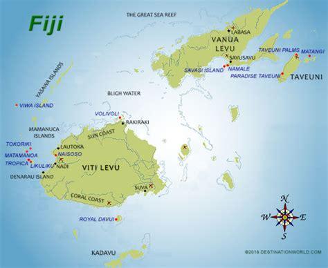 fiji islands map fiji vacations by destination world