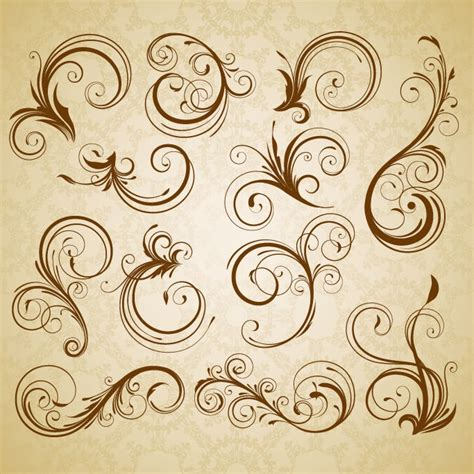 retro vintage design elements vector set set of swirl floral vintage vector design elements free