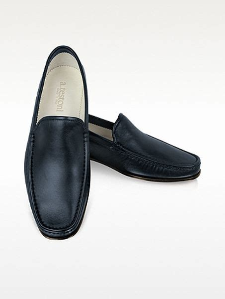 navy blue leather loafers a testoni navy blue leather loafer in blue for navy