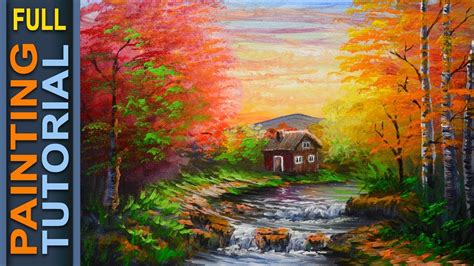 acrylic painting forest tutorial acrylic landscape painting tutorial autumn forest with