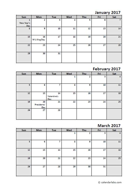 printable calendar quarterly 2017 2017 quarterly calendar with holidays free printable
