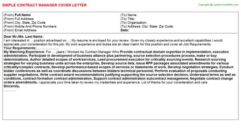 contract manager cover letters