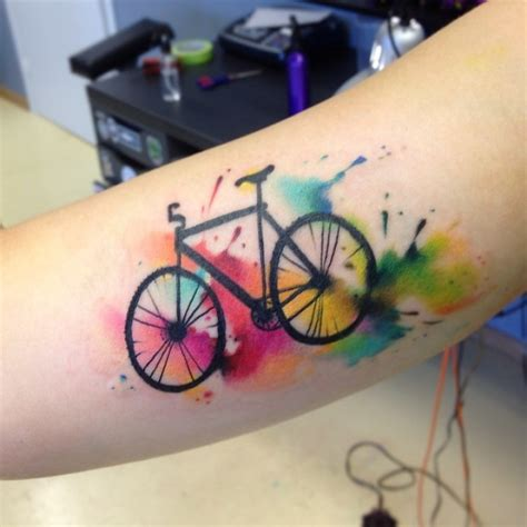 watercolor tattoo ta awesome bike tattoos that every cyclist must see m