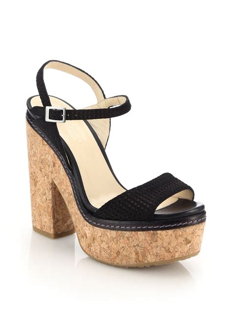 platform sandals lyst jimmy choo naylor textured leather cork platform