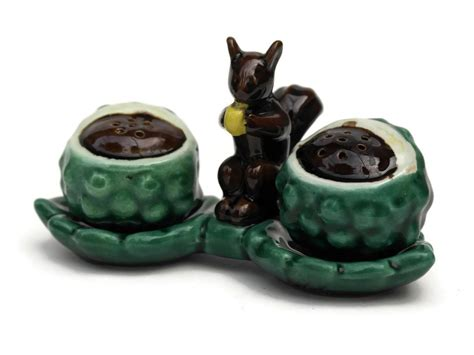 ceramic salt and pepper shakers ceramic squirrel salt and pepper shaker set mid century