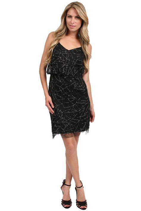 beaded black dress papell blouson beaded v neck dress in black lyst