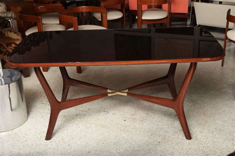 Modern Black Glass Dining Table An Italian Modern Mahogany Brass And Black Glass Dining Table At 1stdibs