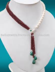 designer ruby white pearls necklace bead