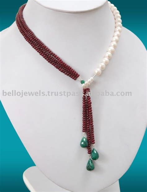 how to make bead necklace designs source designer ruby white pearls necklace