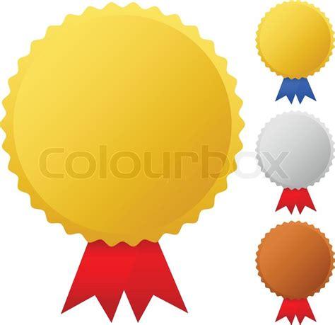 Gold, silver, bronze medals, badges vector graphics