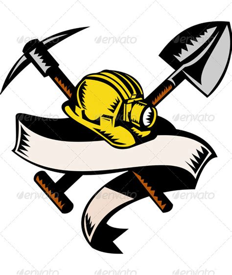 miner hard hat pick ax and shovel woodcut style graphicriver
