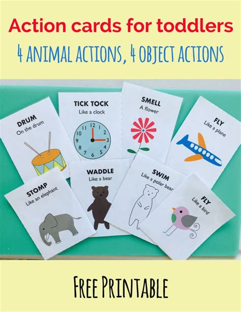 printable animal action cards 133 best activities 18 months 24 months images on