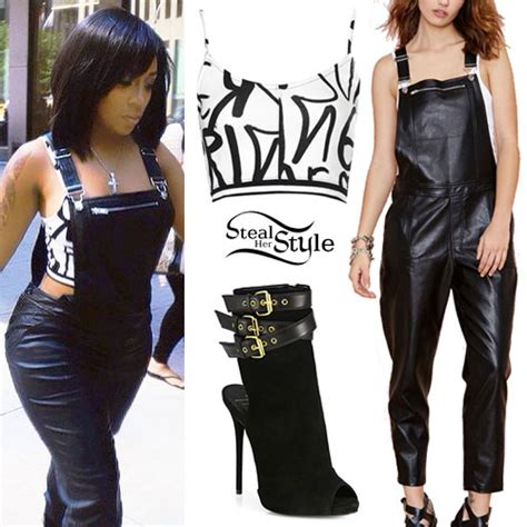 Overall Michele k graffiti top leather overalls style