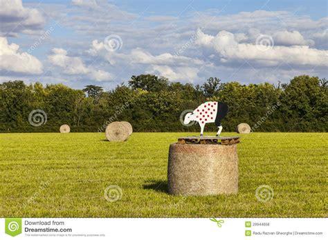 hay le hay bales during le tour de editorial stock photo