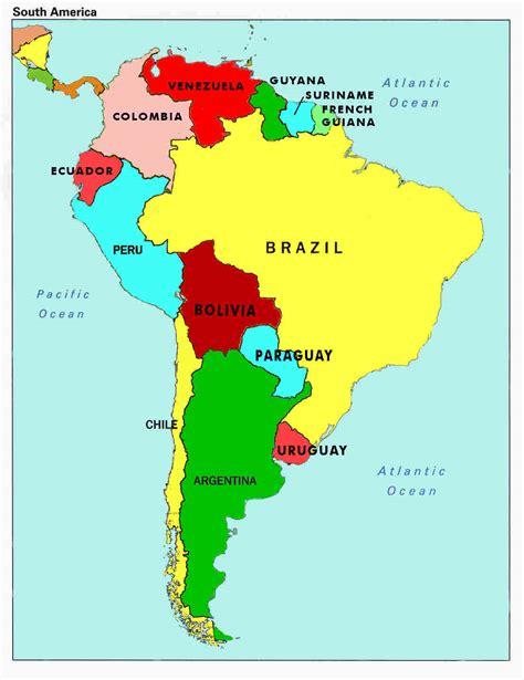 south america map in map of south america countries and capitals map of south