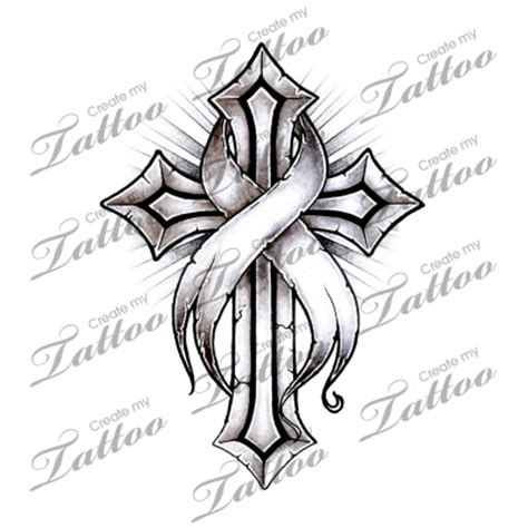 cross cancer ribbon tattoo marketplace cancer ribbon cross 16220