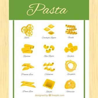 diversi tipi di spaghetti foto e vettori gratis