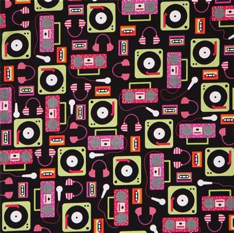 beatbox pattern song black beatbox retro audio music fabric by robert kaufman