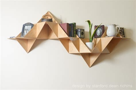 modern inspired modular triangular birch wood wall