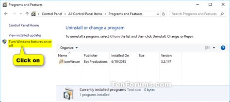 windows 10 features tutorial turn windows features on or off in windows 10 windows 10