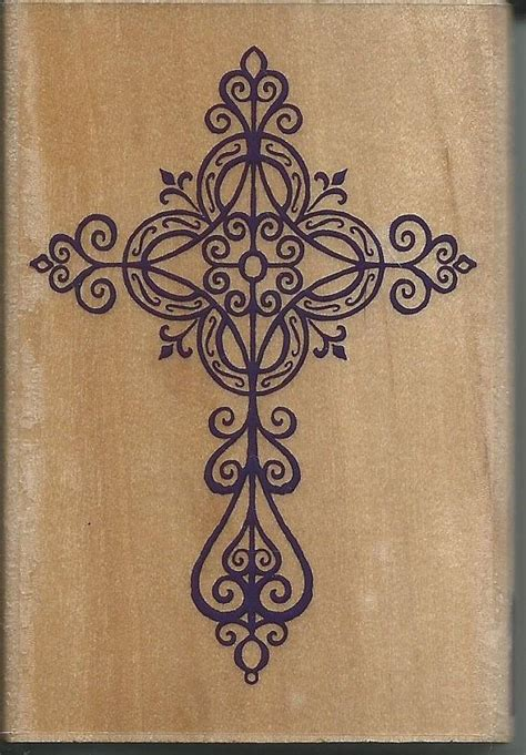 pretty cross tattoo cross st new wood mounted rubber by sagebrush12