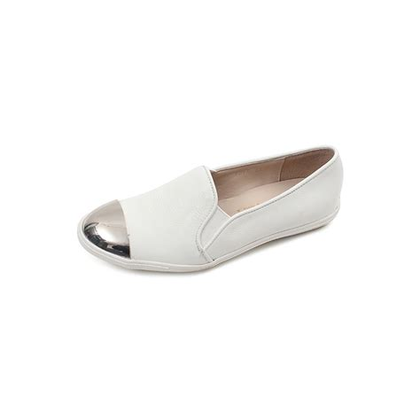 womens white loafers chic metallic toe real leather white womens loafers
