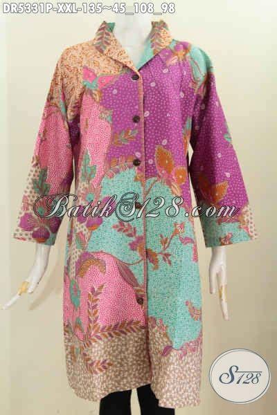Dress Batik Wanita 3680 Jumbo pusat baju fashion batik sedia dress batik kerah langsung dual motif ukuran jumbo