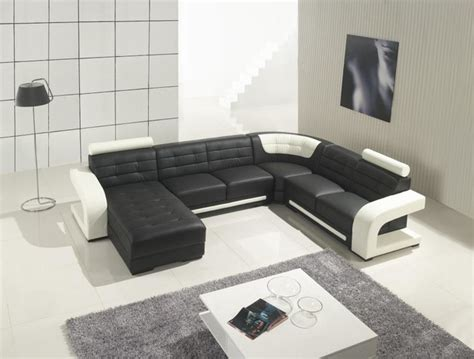 Modern Sectional Sofas Leather by Modern Black Leather Sectional Sofa With White Accents