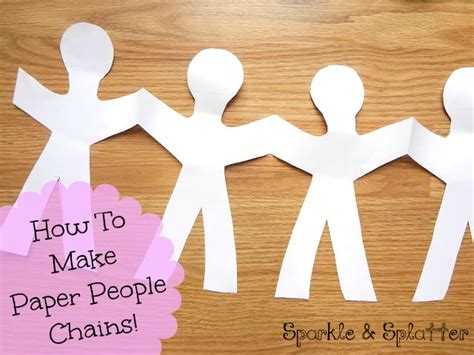 How To Make A Paper Person Chain - sparkle and splatter paper chains