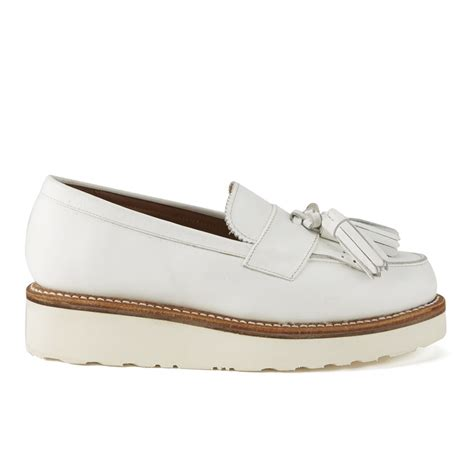 white platform loafers grenson s clara leather platform tassel loafers