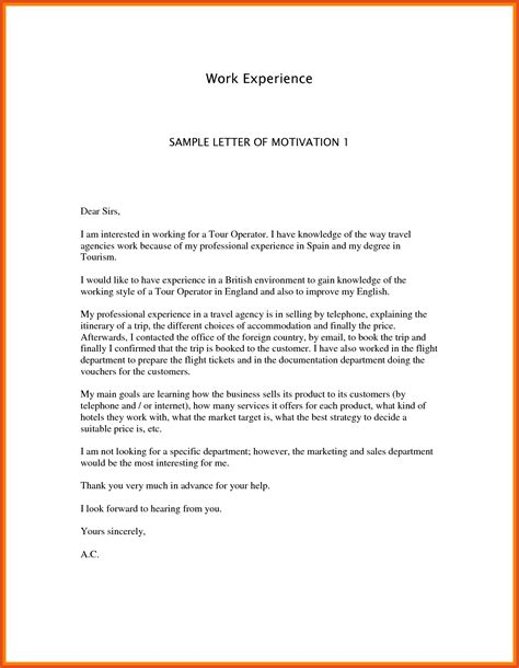 Employment Motivation Letter Sle Motivation Letter For Moa Format