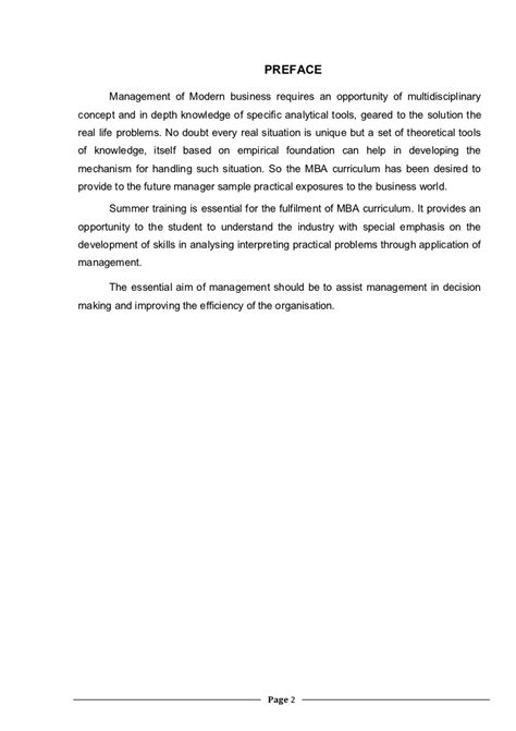 preface sle for project report co oparative bank project report bharati nama