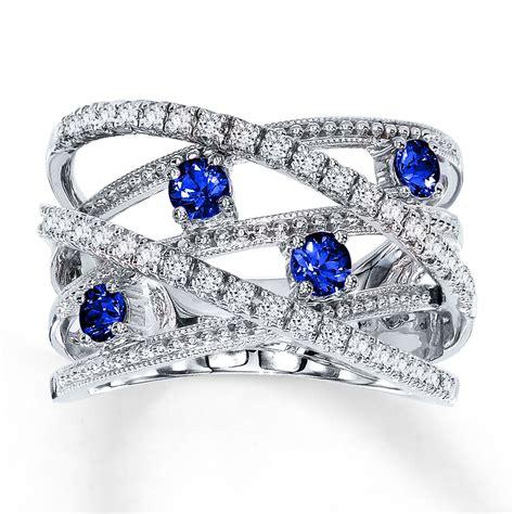 jared blue sapphire ring 1 4 ct tw 10k