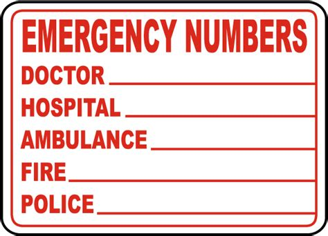 Emergency Numbers Card Template by Emergency Phone Numbers Label D4631 By Safetysign
